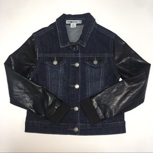 ⭐️ HP ⭐️ DNKY GirlS Jean Jacket Faux Leather 📚